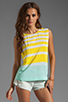 Image 1 of Equipment Venice Stripes Reagan Blouse in Blazing Yellow/Ice Green
