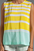 Image 3 of Equipment Venice Stripes Reagan Blouse in Blazing Yellow/Ice Green