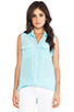 Image 1 of Equipment Sleeveless Slim Signature Blouse in Light Teal