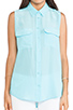 Image 4 of Equipment Sleeveless Slim Signature Blouse in Light Teal