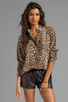 Image 1 of Equipment Underground Leopard Printed Slim Signature Blouse in Natural