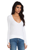 Image 2 of Feel the Piece Viper Thermal V Neck with Thumb Holes in White