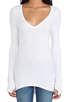 Image 4 of Feel the Piece Viper Thermal V Neck with Thumb Holes in White