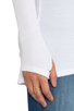 Image 5 of Feel the Piece Viper Thermal V Neck with Thumb Holes in White