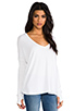 Image 2 of Feel the Piece Robin Thermal Flowy Top with Thumb Holes in White