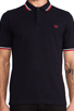Image 4 of Fred Perry Slim Fit Twin Tipped Polo in Navy/White/Red