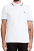 Image 4 of Fred Perry Twin Tipped Slim Fit Polo in White/Navy