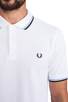 Image 5 of Fred Perry Twin Tipped Slim Fit Polo in White/Navy
