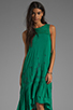 Image 1 of Free People Long Crochet Dress with Tiers in Emerald Combo