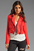 Image 1 of Free People Linen Moto Jacket in Cherry