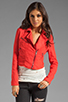 Image 2 of Free People Linen Moto Jacket in Cherry
