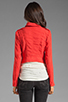 Image 3 of Free People Linen Moto Jacket in Cherry