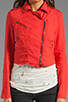 Image 4 of Free People Linen Moto Jacket in Cherry