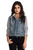 Image 2 of Free People Denim/Knit Hoodie Jacket in Indie Wash