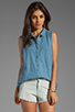 Image 1 of Free People Linen Sleeveless Shirt in Chambray Blue