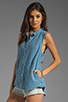 Image 2 of Free People Linen Sleeveless Shirt in Chambray Blue