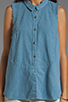 Image 4 of Free People Linen Sleeveless Shirt in Chambray Blue