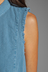 Image 5 of Free People Linen Sleeveless Shirt in Chambray Blue