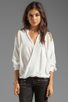 Image 1 of Funktional Linear Cold Shoulder Fold Front Blouse in White