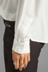 Image 5 of Funktional Linear Cold Shoulder Fold Front Blouse in White