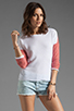 Image 1 of Generation Love Juliet Contrast Mesh Long Sleeve in Coral/White