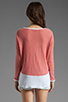 Image 2 of Generation Love Juliet Contrast Mesh Long Sleeve in Coral/White