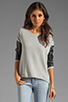 Image 1 of Generation Love Bobo Italian Faux Leather Sleeve Sweatshirt in Grey