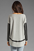 Image 2 of Generation Love Bobo Italian Faux Leather Sleeve Sweatshirt in Grey