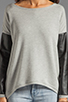 Image 3 of Generation Love Bobo Italian Faux Leather Sleeve Sweatshirt in Grey