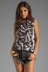 Image 1 of Graham & Spencer Abstract Zebra Print Sleeveless Button Down in Multi