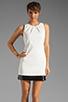 Image 1 of Halston Heritage Sleeveless Embellished Bottom Dress in Bone/Black
