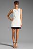 Image 2 of Halston Heritage Sleeveless Embellished Bottom Dress in Bone/Black