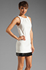 Image 3 of Halston Heritage Sleeveless Embellished Bottom Dress in Bone/Black