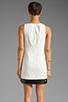 Image 4 of Halston Heritage Sleeveless Embellished Bottom Dress in Bone/Black