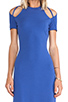 Image 4 of Halston Heritage Short Sleeve Gown With Shoulder Cut in Ultramarine