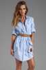 Image 1 of Halston Heritage Belted Shirtdress with Overlay in Chambray