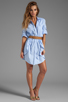 Image 2 of Halston Heritage Belted Shirtdress with Overlay in Chambray