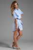 Image 3 of Halston Heritage Belted Shirtdress with Overlay in Chambray