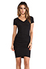 Image 1 of Monrow Shirred Tee Dress in Black