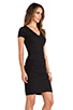 Image 2 of Monrow Shirred Tee Dress in Black