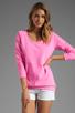 Image 1 of Monrow White Fleece Boyfriend Sweatshirt in Neon Pink