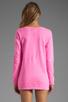 Image 2 of Monrow White Fleece Boyfriend Sweatshirt in Neon Pink