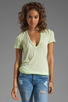Image 1 of Monrow Tissue V Neck Tee in Fizz