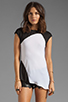 Image 1 of Heather Asymmetrical Tee in Black/White