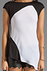Image 3 of Heather Asymmetrical Tee in Black/White