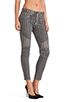 Image 2 of Hudson Jeans Moto Striped Skinny in Grey/Gold