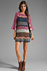 Image 2 of Indah Atlas Mix Knit Fringe Sleeve Mini Dress in Earth
