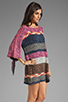 Image 3 of Indah Atlas Mix Knit Fringe Sleeve Mini Dress in Earth