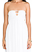 Image 5 of Indah Flamingo Smocked Bandeau Lined Maxi Dress in White