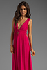 Image 1 of Indah Anjeli Rayon Crepe Plunging V-Nevk and V-Back Empire Maxi Dress in Hot Pink